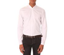 Weiße Slim Fit Hemd mit Offizierskragen