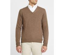Beigefarbener Pullover mit V-Ausschnitt und Kontrastellenbogen