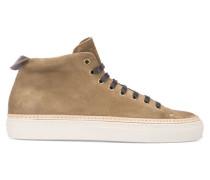 Tabakbraune Sneaker Tanino Mid mit Doppelnaht aus Velours-Kalbsleder