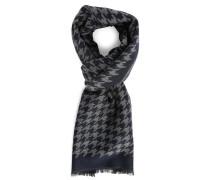 Blau-grauer Schal aus Wolle und Seide mit Hahnentrittmuster
