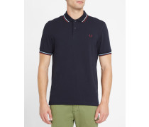 Slim-Poloshirt Classic in Marineblau, Himmelblau und Bordeauxrot