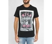 Schwarzes T-Shirt mit Rundhalsausschnitt mit Druckmuster T-Diego