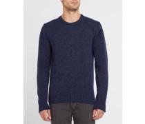 Marineblau melierter Wollpullover mit Rundhalsausschnitt und blauem Ellenbogeneinsatz
