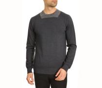 Pullover mit Rundhalsausschnitt, farblich abgesetzt grau-blau