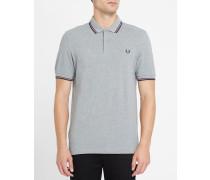 Slim-Poloshirt Classic in Graumeliert, Blau und Bordeauxrot
