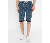Blaue Jersey-Shorts mit Blattmuster