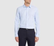 Himmelblaues Slim-Hemd mit kleinem Kragen aus Baumwollpopeline Micro Vichy