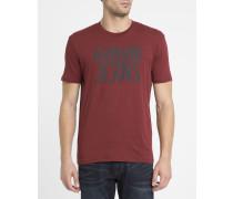 Bordeauxrotes T-Shirt mit Rundhalsausschnitt und AJ-Logo