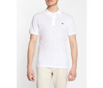 Kurzärmeliges Slim Cut-Poloshirt mit kleinem Pikee und Tasche, weiß