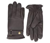 Braune Lederhandschuhe mit Druckknopf