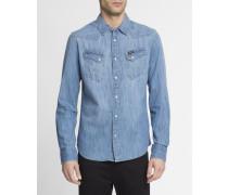 Hemd in ausgewaschenem Blau Western