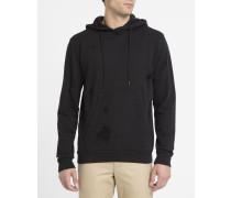 Schwarzes Kapuzensweatshirt mit Reißverschluss