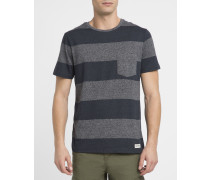 Gestreiftes T-Shirt mit Brusttasche Austin in Grau und Marineblau
