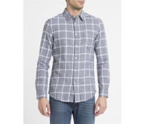 Grau-weißes Hemd Check Flanell S Tas