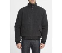 Jacke aus Wolle mit Sparrenmuster in Anthrazitgrau