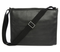 Messenger Bag aus schwarzem Leder Touraine