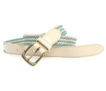 Gürtel geflochtenes Leder und blauer und naturfarbener Stoff