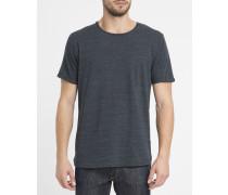 Marineblaues T-Shirt 1842 mit Rundhalsausschnitt in Flamé-Baumwolle