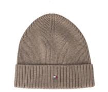 Mütze aus Baumwoll-Kaschmir in Beige