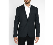 Marineblaue Slim-Jacke aus Wolle mit kleinen Punkten