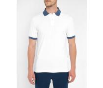 Weißes Poloshirt mit zweifarbigem Kragen und Brustlogo