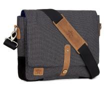 Grau melierte Messenger Bag aus Flanell und Baumwolle