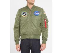 Khakibraune Bomberjacke MA-1 mit NASA-Aufnäher aus Nylon