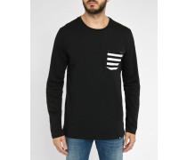 Schwarzes T-Shirt mit Tasche in Kontrastfarbe Lennart