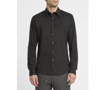 Schwarzes Slimfit-Hemd aus Stretch-Popeline Sylvain