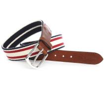 Weißer Nylon-Ledergürtel Stripes