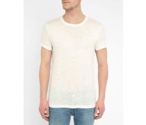 Beiges T-Shirt mit Rundhalsausschnitt und himmelblauem Print Jordy