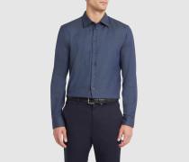 Marineblaues Slim-Hemd mit kleinem Kragen und Pünktchen