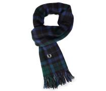 Blau-grüner Tartan-Schal aus Kaschmirwolle