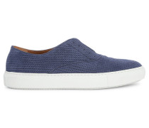 Niedrige Sneaker aus gealtertem blauem Leder