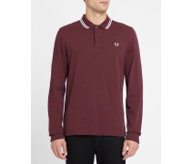 Bordeauxrotes, langärmliges Slim-Fit-Poloshirt Classic
