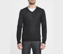 Schwarzer Pullover mit V-Ausschnitt Knut aus Wollgemisch