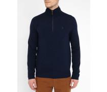Pullover mit kurzer Knopfleiste aus Wolle in Marineblau