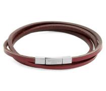 Dreifach-Armband Fetuccinni aus Silber und rotem Leder 58cm