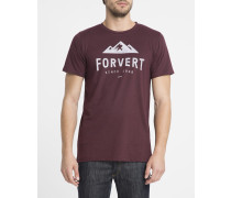 Bordeauxrotes T-Shirt mit Rundhalsausschnitt und Logan-Aufdruck