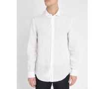 Weißes Leinenhemd mit kleinem Kragen