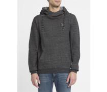 Schwarz-anthrazitgraues Kapuzen-Sweatshirt mit Schalkragen Chamisso Layer