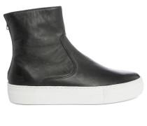 Schwarze Leder-Sneaker Boots