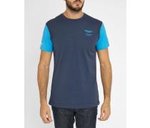 Marineblaues T-Shirt mit Rundhalsausschnitt mit blauem Aston Martin-Logo