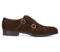 Braune Schuhe aus Veloursleder mit doppelter Schnalle