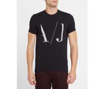 Schwarzes T-Shirt mit Rundhalsausschnitt und AJ-Logo