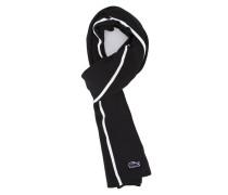 Schwarzer Schal aus Baumwoll-Piqué mit weißen und marineblauen Streifen Made In France
