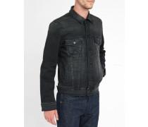 Jeansjacke in schwarzer Waschung