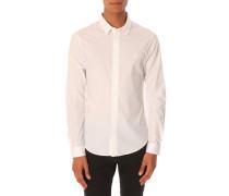 Weißes Stretchhemd Balaxy aus Baumwolle mit geknöpftem Kragen