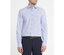 Popeline-Hemd Grain Mattern in Weiß und Blau