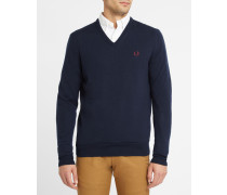 Marineblauer Pullover mit V-Ausschnitt Merino